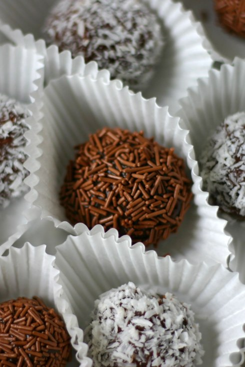 Brigadeiros are little balls of chocolatey deliciousness rolled in sprinkles or shredded coconut.
