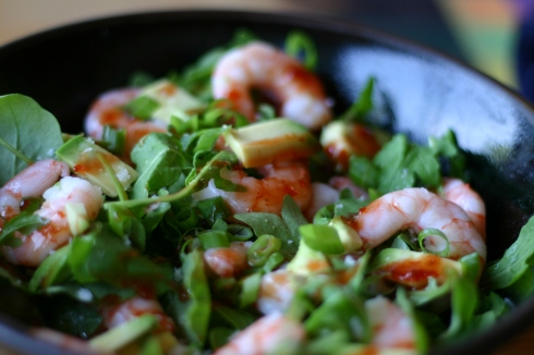 Prawn rocket avocado salad