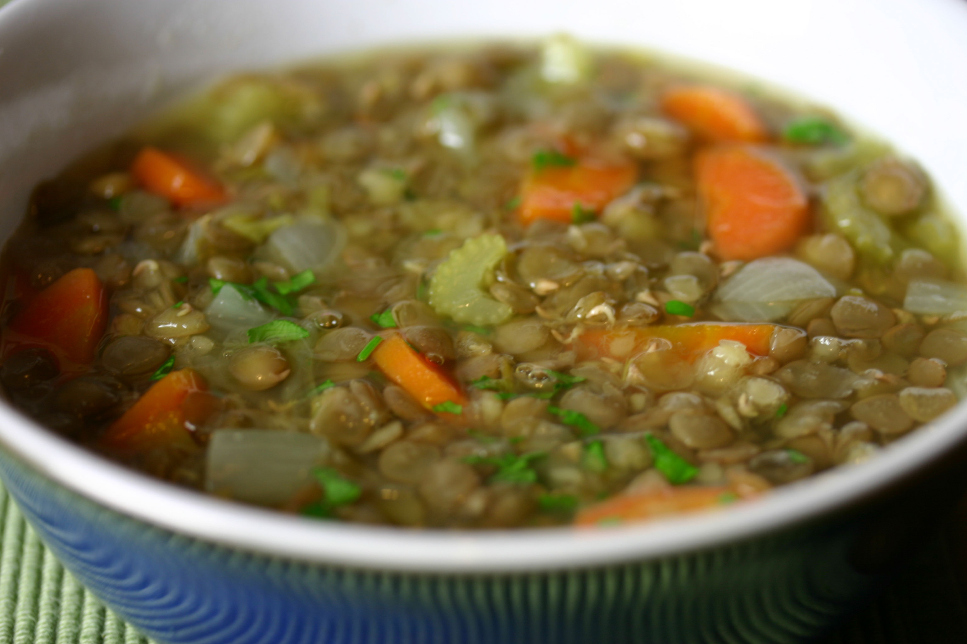 ... find myself craving things like this green lentil soup for supper