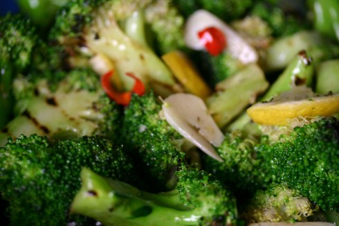 Chargrilled broccoli with garlic and chilli