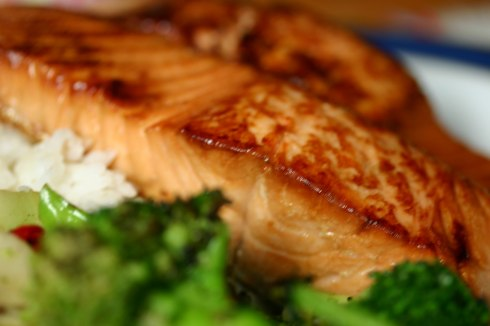 Sake-soy marinated salmon