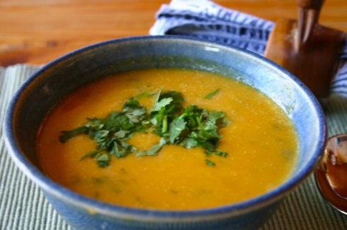 squash soup with coconut milk and lemongrass