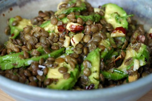 Avocado lentil salad