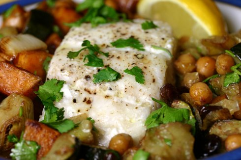 Steamed fish with roasted vegetables