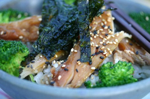 Fish rice broccoli bowl