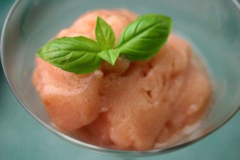 Peach-basil sorbet
