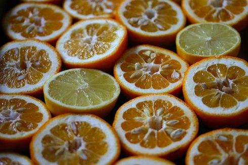 Halved Seville oranges