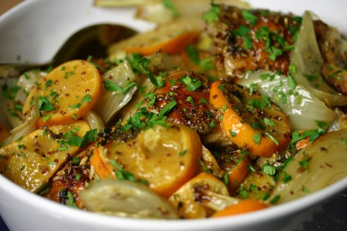 Chicken with clementines, fennel and ouzo