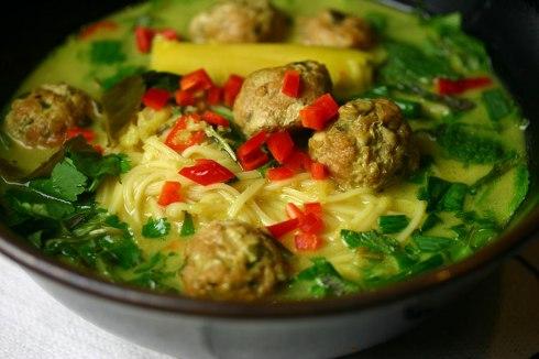 Thai meatball noodle soup