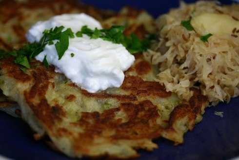 Potato pancakes with sauerkraut