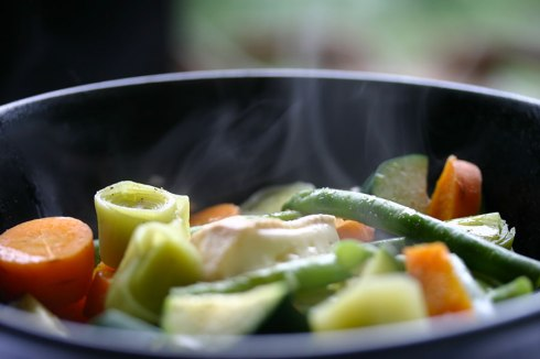 Steamed vegetables with cheese