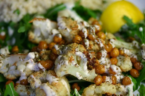 Roast cauliflower and chickpea salad