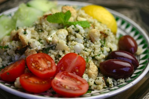 roasted cauliflower couscous salad