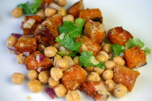 Roast squash and chickpea salad