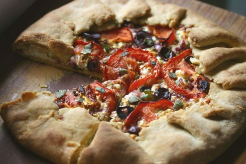 Tomato, olive and feta galette