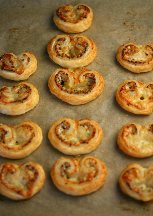cheese and mustard palmiers