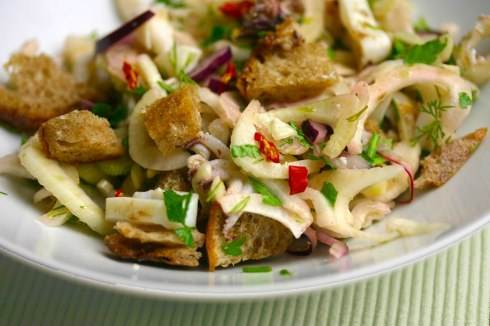 Seafood fennel salad with croutons