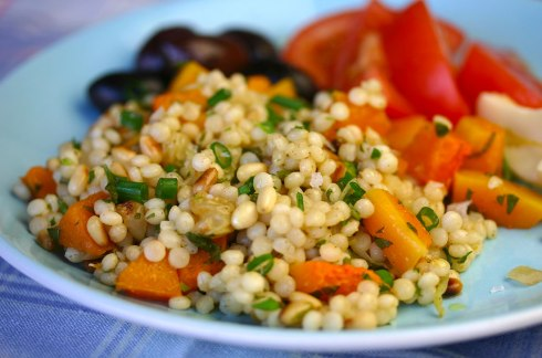 Israeli couscous, squash and preserved lemon salad