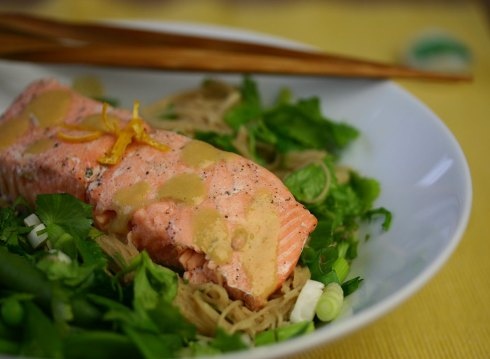salmon with orange-miso-ginger noodles