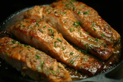 salmon with crab apple and horseradish glaze