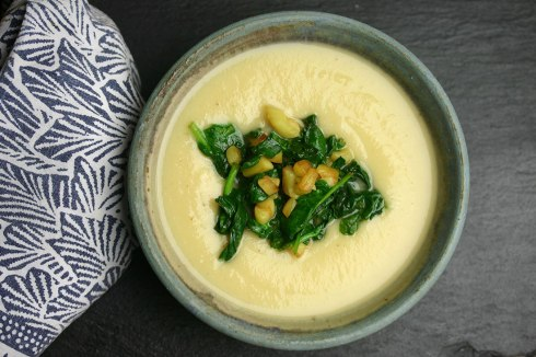 parsnip soup with sautéed greens