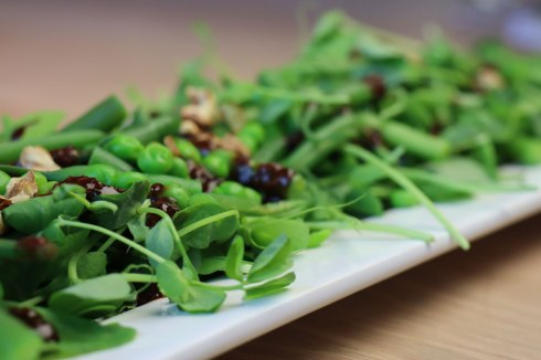 green bean, pea and peashoot salad with miso dressing
